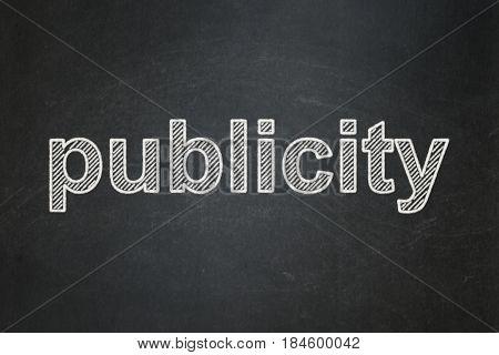 Marketing concept: text Publicity on Black chalkboard background