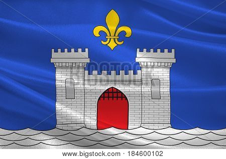 Flag of Blaye is a commune and subprefecture in the Gironde department in Nouvelle-Aquitaine in southwestern France. 3D illustration