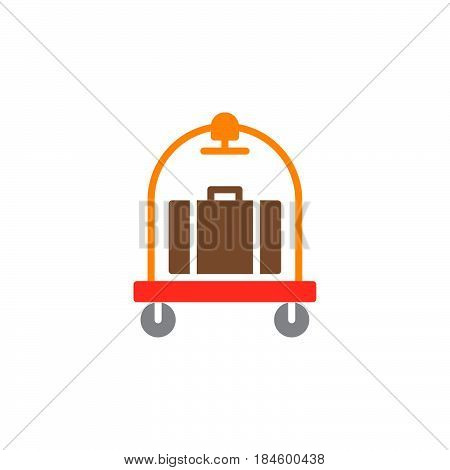 Baggage luggage trolley icon vector filled flat sign solid colorful pictogram isolated on white. Hotel cart symbol logo illustration