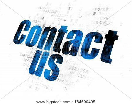 Marketing concept: Pixelated blue text Contact Us on Digital background