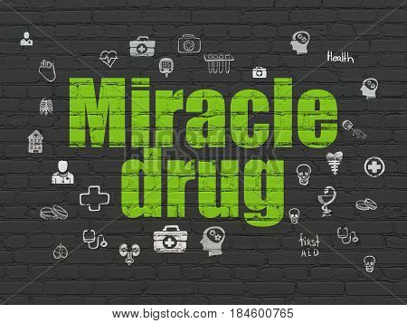 Healthcare concept: Painted green text Miracle Drug on Black Brick wall background with  Hand Drawn Medicine Icons