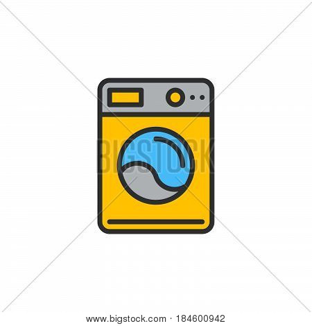 Washing machine line icon filled outline vector sign linear colorful pictogram isolated on white. Laundry symbol logo illustration