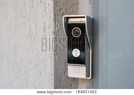 Close up modern video intercom in the entry of a house