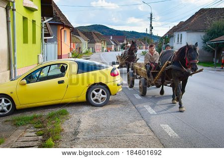 People Driving Horse Cart. Romania