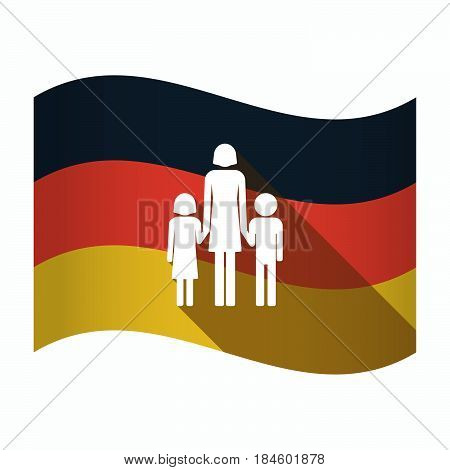 Isolated Germany Flag With A Female Single Parent Family Pictogram