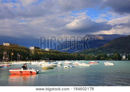 ANNECY, APRIL 14, 2017 - Annecy Lake, Haute Savoie, France, Europe