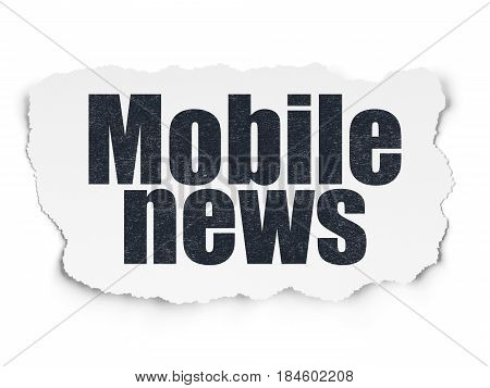 News concept: Painted black text Mobile News on Torn Paper background with  Tag Cloud