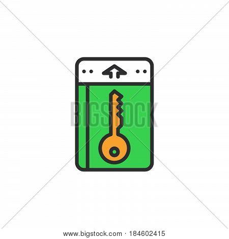 Check-in Check-out icon vector filled flat sign solid colorful pictogram isolated on white. Symbol logo illustration