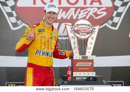 April 30, 2017 - Richmond, Virginia, USA: Joey Logano (22) wins the Toyota Owners 400 at Richmond International Speedway in Richmond, Virginia.