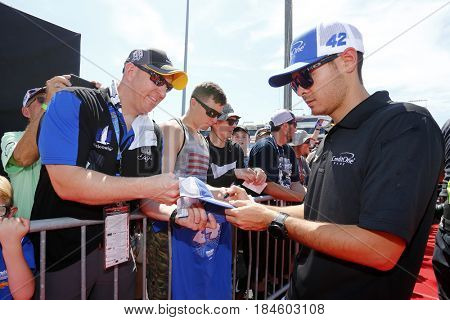 April 30, 2017 - Richmond, Virginia, USA: Kyle Larson (42) walks to the drivers meeting prior to the Toyota Owners 400 at Richmond International Speedway in Richmond, Virginia.