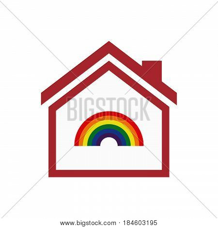 Isolated House With A Rainbow