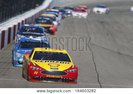 April 30, 2017 - Richmond, Virginia, USA: Joey Logano (22) leads the field for the Toyota Owners 400 at Richmond International Speedway in Richmond, Virginia.
