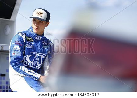 April 28, 2017 - Richmond, Virginia, USA: Trevor Bayne (6) hangs out by his car before qualify for the Toyota Owners 400 at Richmond International Speedway in Richmond, Virginia.