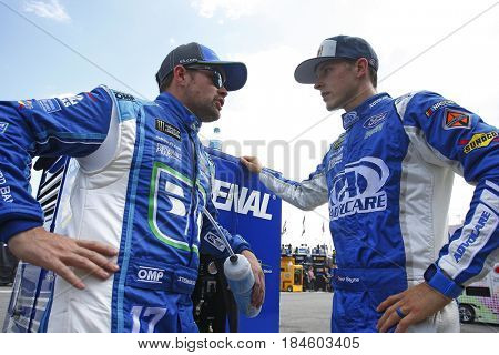 April 28, 2017 - Richmond, Virginia, USA: Ricky Stenhouse Jr. (17) and Trevor Bayne (6) hang out during practice for the Toyota Owners 400 at Richmond International Speedway in Richmond, Virginia.