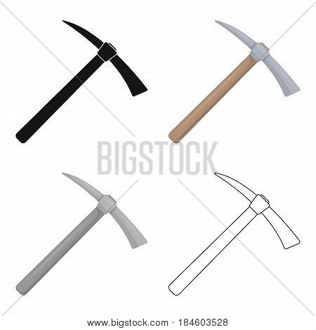 Iron pick with wooden wooden handle. The criminals tool for killing.Prison single icon in cartoon style vector symbol stock web illustration.
