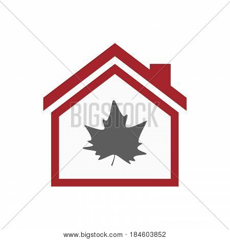 Isolated House With An Autumn Leaf Tree