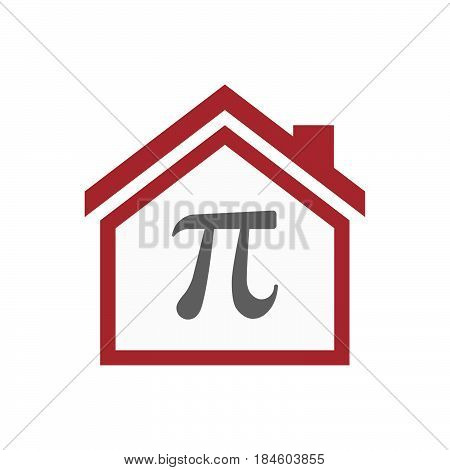 Isolated House With The Number Pi Symbol