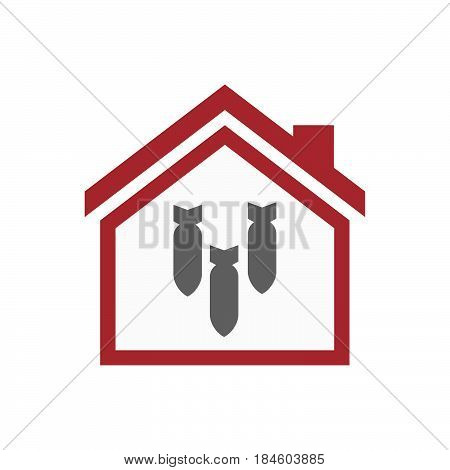 Isolated House With Three Bombs Falling