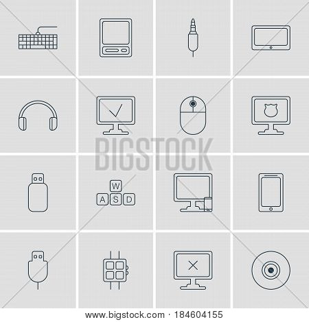 Vector Illustration Of 16 Laptop Icons. Editable Pack Of Qwerty Board, Serial Bus, Tablet And Other Elements.