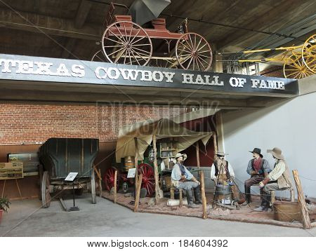 FORT WORTH, TEXAS, MARCH 15. The Texas Cowboy Hall of Fame on March 15, 2017, in Fort Worth, Texas. A Sterquell Wagon Collection at the Texas Cowboy Hall of Fame in the Fort Worth Stockyards in Fort Worth, Texas.