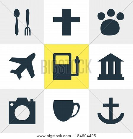 Vector Illustration Of 9 Check-In Icons. Editable Pack Of Cafe, Anchor, Refueling And Other Elements.