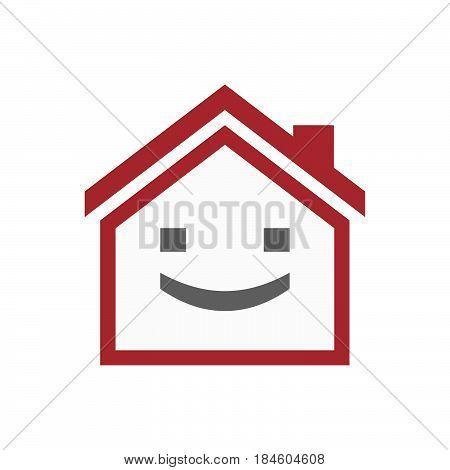 Isolated House With A Smile Text Face