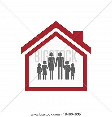 Isolated House With A Large Family  Pictogram