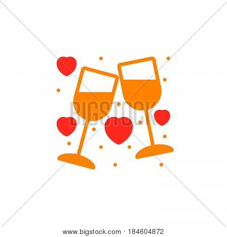Clinking Wine Glasses Stemware and hearts icon vector filled flat sign solid colorful pictogram isolated on white. Symbol logo illustration