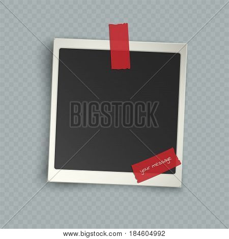 Retro realistic vertical blank instant photo frame with shadow effects white plastic border on sticky tape pin isolated on transparent background. Template photo design vector illustration