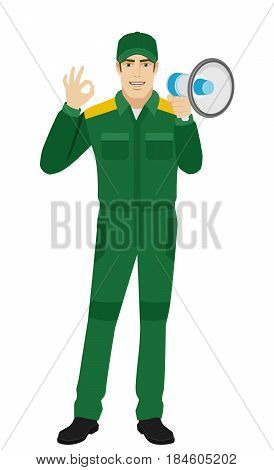 Worker with loudspeaker showing a okay hand sign. Full length portrait of Delivery man or Worker Character in a flat style. Vector illustration.
