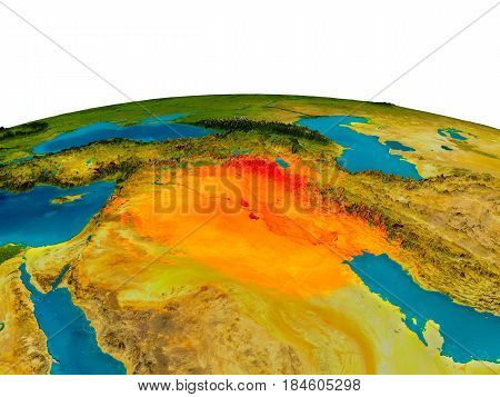 Iraq On Model Of Planet Earth