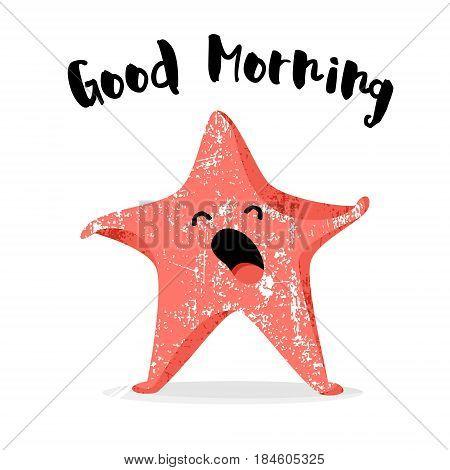 Cute starfish yawns. Good morning card. Flat style. Vector illustration.