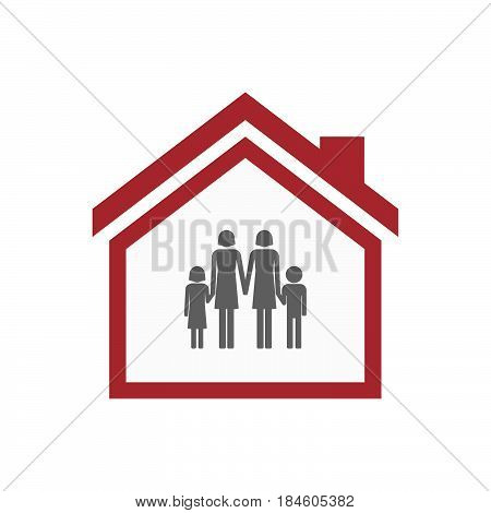 Isolated House With A Lesbian Parents Family Pictogram