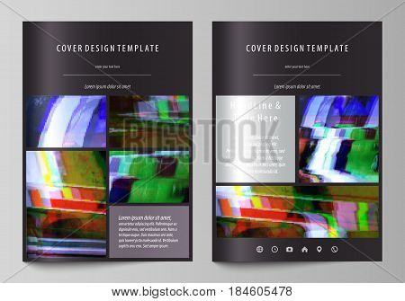 Business templates for brochure, magazine, flyer, booklet or annual report. Cover design template, easy editable vector, abstract flat layout in A4 size. Glitched background made of colorful pixel mosaic. Digital decay, signal error, television fail.