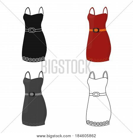 Beautiful red evening dress for women. Detail of a woman wardrobe.  Woman clothes single icon in cartoon style vector symbol stock web illustration.