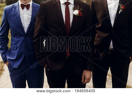 Stylish Groom With Groomsmen In Suits With Boutonniere Posing, Getting Ready In Morning For Wedding