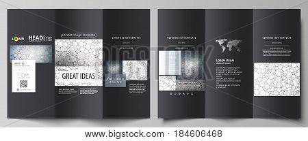 Tri-fold brochure business templates on both sides. Easy editable abstract vector layout in flat design. Chemistry pattern, molecular texture, polygonal molecule structure, cell. Medicine, science, microbiology concept.