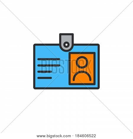 Id badge line icon Identification card filled outline vector sign linear colorful pictogram isolated on white. Symbol logo illustration