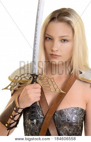 female warrior holding sword on white background
