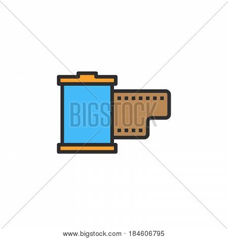 Film cartridge line icon filled outline vector sign linear colorful pictogram isolated on white. Symbol logo illustration