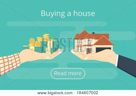 Buying house. Agent of real estate holding in hand house key. Buyer customer gives gold coin. Deal sale and purchase of real concept. Vector illustration flat isometric design. Money home.