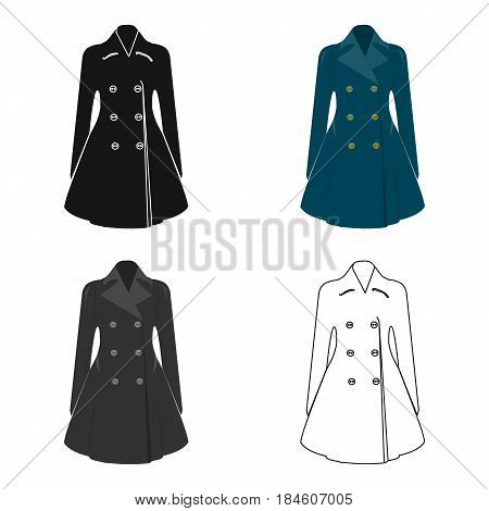 Blue female restrained coat buttoned. Women's outerwear.  Woman clothes single icon in cartoon style vector symbol stock web illustration.