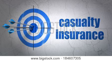 Success Insurance concept: arrows hitting the center of target, Blue Casualty Insurance on wall background, 3D rendering