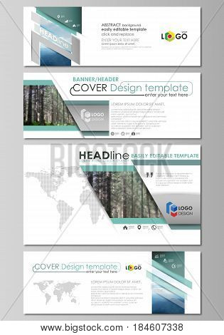 Social media and email headers set, modern banners. Business templates. Easy editable abstract design template, vector layouts in popular sizes. Colorful background made of triangular or hexagonal texture for travel business, natural landscape in polygona