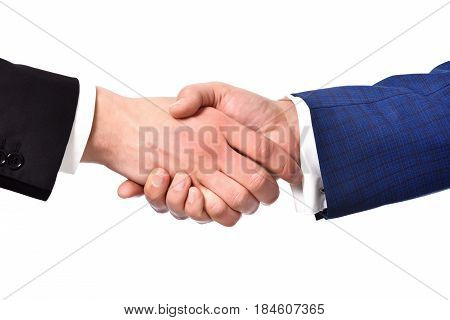 business partnership meeting businessman handshake successful businessmen handshaking after good deal isolated on white background