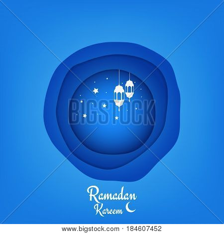 Ramadan Kareem illustration. Paper cut vector background for islamic holiday