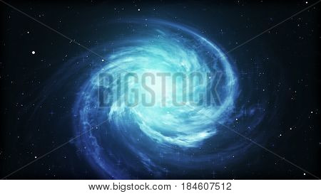 Bright Cosmic  Background With Blue Glowing Vortex. Abstract Astronomy Wallpaper Design With Super N