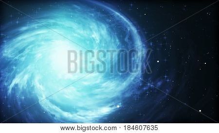 Bright Cosmic Background With Blue Glowing Vortex. Abstract Astronomy Wallpaper Design With Super No