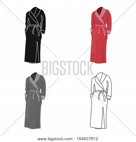 Pink lady's gown after bath. Home clothes for women.  Woman clothes single icon in cartoon style vector symbol stock web illustration.