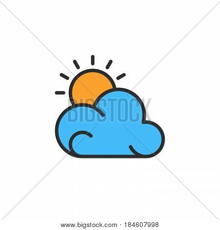 Sun and cloud line icon filled outline vector sign linear colorful pictogram isolated on white. Partly cloudy weather forecast symbol logo illustration